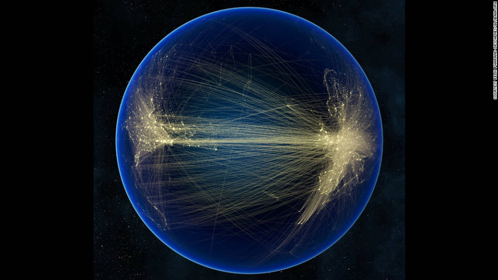 Canadian anthropologist Felix Pharand has created a series of computer-generated images that highlight the spread of technology on Earth. Here air-traffic routes between North America and Europe are shown on a satellite image of the Atlantic.