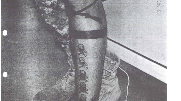 """This photo from the U.S. Army shows Sgt. Calvin Gibbs' tattoos that are suspected to represent his """"kills."""""""