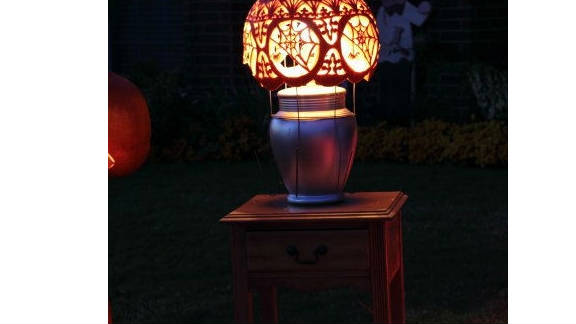Karyn Poplin of Fort Worth, Texas, imagined what it would look like if Tiffany & Co. carved a pumpkin and made a lamp out of it.