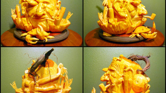 ThisOldHouse.com shared the winners of its fourth annual Pumpkin Carving Contest. This salty man, carved by Michael Wallo of Edmond, Oklahoma, seems to have brought a few of the sea creatures home with him, including fish, squid and crab. See the full gallery of winning entries.