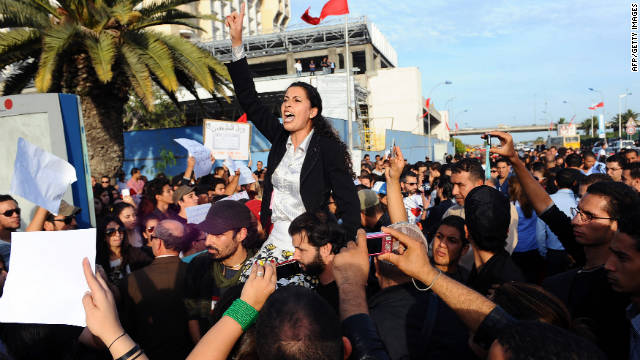 Tunisians protest against the results of the country's first democratic vote, claiming fraud, on Tuesday.