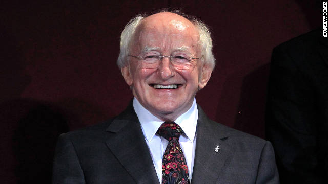 Newly elected Irish President Michael Higgins smiles during the official announcement of the election results.