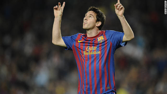 Lionel Messi celebrates scoring the opening goal in Barcelona's 5-0 defeat of Mallorca