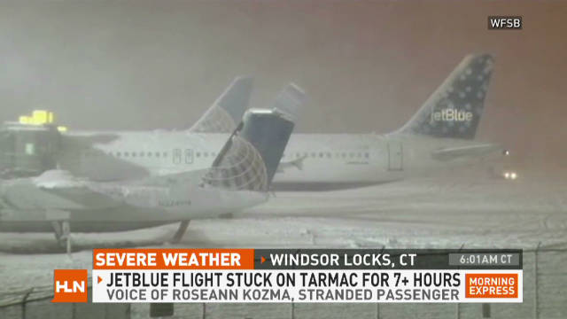 Passengers on five JetBlue flights were stuck on the tarmac at Bradley International Airport for hours on Saturday.