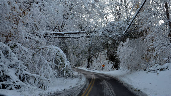 """Aaron Kershaw, an iReporter from Putnam County, New York, captured the aftermath of the unexpected snow in his community on Sunday, October 30. """"Lots of downed trees this late-morning, with the weight of the now wet snow makes for more breakage,"""" said Kershaw."""