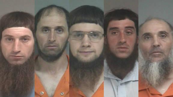 From left, Daniel Mullet, Johnny Mullet, Lester Mullet, Eli Miller and Levi Miller are among those on trial.