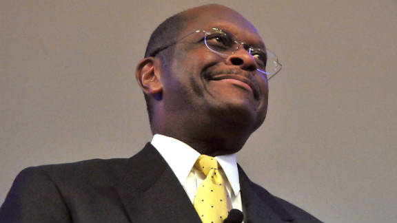 Presidential candidate Herman Cain speaks at the American Enterprise Institute on Monday.
