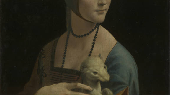 The woman in this painting is thought to be Cecilia Gallerani, a famously beautiful mistress of da Vinci