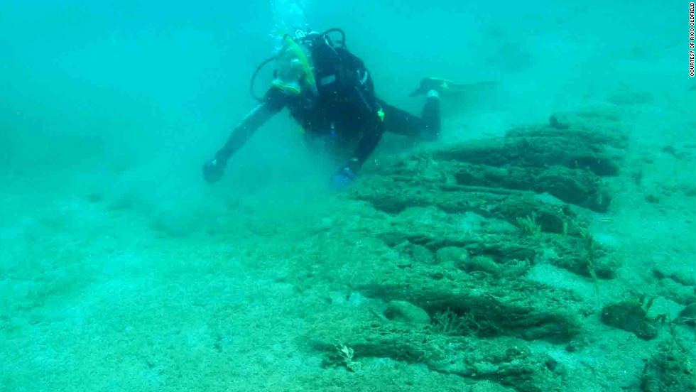 Entrepreneur Pat Croce dives over the ribs of a ship believed to be part of the wreckage of 16th century ships Delight and Elizabeth.