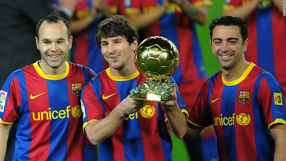 European and Spanish champions Barcelona dominate the shortlist, with a total of eight players nominated. Argentina star and 2010 winner Lionel Messi is once again up for the award, along Spain's World Cup-winning midfield partnership of Xavi and Andres Iniesta. Also on the list are former Arsenal captain Cesc Fabregas, defender Gerard Pique, striker David Villa, Brazil fullback Dani Alves and France's Eric Abidal.