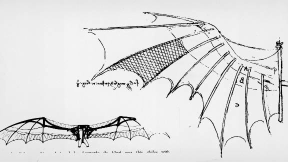 Da Vinci grew interested in human air travel in his 30s and devoted many hours to developing his designs for flying machines. Using nature as a starting point, he studied how birds, bats and insects fly as one way of understanding aerodynamics. The sketch here is of the wings of a glider, which appears to be based on da Vinci