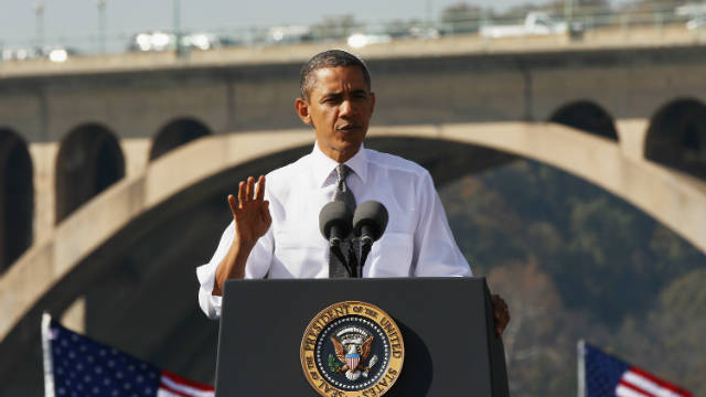 President Obama ordered the Transportation Department to award $527 million in road and bridge grants by the end of the year.