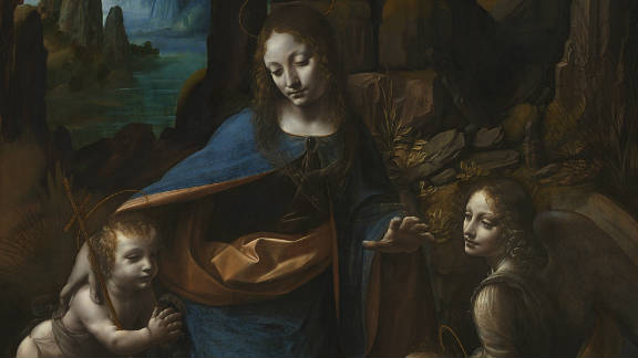 This is the title for two paintings with very similar subject matter and composition, one housed in the Louvre Museum in Paris, the other in The National Gallery in London (this version). The Louvre painting is thought to be the earlier.
