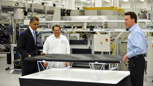 President  Obama tours the Solyndra solar panel company May 26, 2010, in Fremont, California.