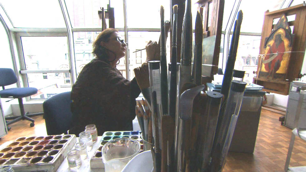 "Dianne Dwyer Modestini, who conserved the ""Salvator Mundi,"" at work in her studio."