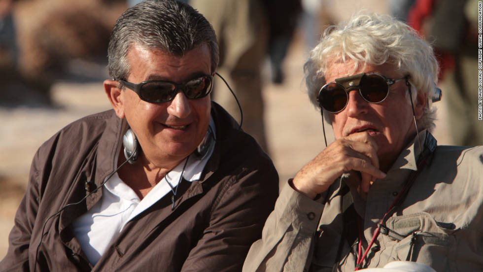 """Black Gold"" producer Tarak Ben Annar and director Jean-Jacques Annaud chat between shooting scenes."