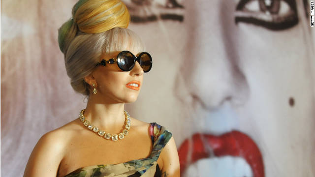 Lady Gaga poses for photographers in New Delhi, India, on October 28, 2011.