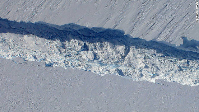 In this image obtained from NASA, the space agency's DC-8 flies over the Pine Island Glacier Ice Shelf on October 14, 2011.