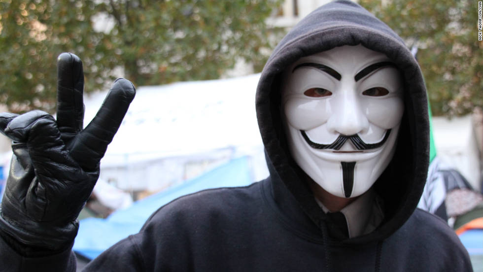 A member of Anonymous UK at the Occupy London sports the Guy Fawkes mask in London on November 3.