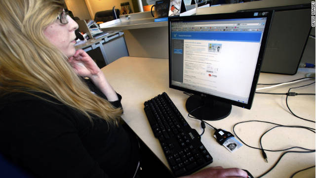 A woman in Tallin, Estonia, casts her vote online in the Baltic country's March general election.