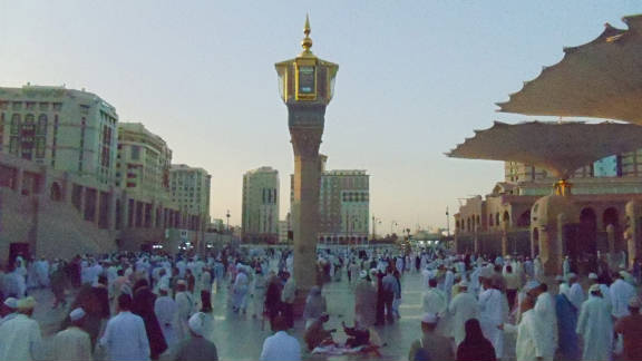 Muslim pilgrims gather in Medina, the burial place of the prophet Mohammed, for the Hajj pilgrimage.