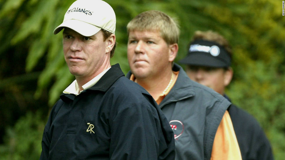 Briny Baird and playing partner John Daly at the 2004 Nissan Open. Daly trails Baird by $3m in the all-time PGA Tour money list despite winning a major.