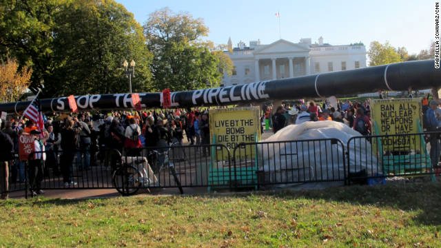 Thousands of demonstrators protested the proposed Keystone XL pipeline outside the White House on Sunday.
