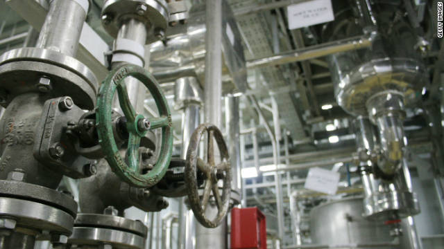 The inside of a uranium conversion facility producing unit is shown on March 30, 2005, just outside the city of Isfahan in Iran.