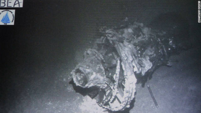An undersea image of the crashed engine of the Airbus A330 that crashed in the Atlantic  en route from Brazil to France.