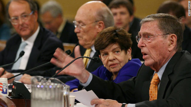 Erskine Bowles, from left, Alan Simpson, former White House Budget Director Alice Rivlin, and Pete Domenici participate in a Joint Deficit Reduction Committee hearing.
