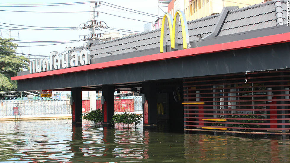 This drive-thru McDonalds in the Lumlukka district of northern Bangkok can now accommodate boats.