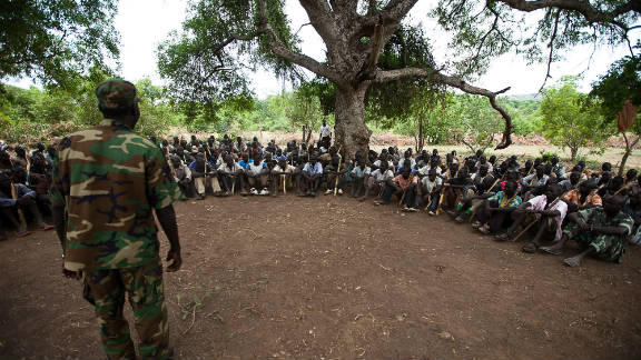 New recruits for the Sudan People's Liberation Army (SPLA) attend a training session in the area of South Kordofan in July 11, 2011.