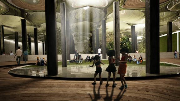 """In theory, natural light would stream into the underground park via a series of """"remote skylights"""" -- capable of transporting sunrays from the street underground, shown here in another digital imagining of the park."""