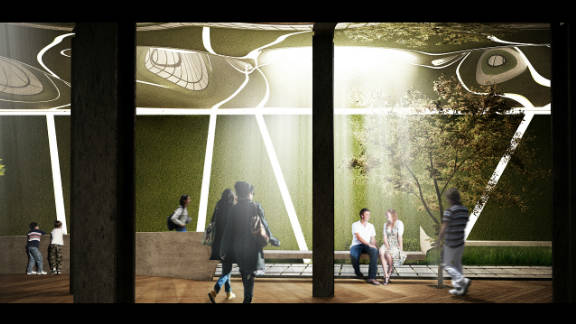 """A digital rendering of how the park could look: """"This will be a distinctive testament to the varied applications and incredible promise of solar power,"""" said co-founder Dan Barasch. """"It would also bring a slice of nature into one of New York's least green areas, and encourage people to think about their relationship with the environment."""""""