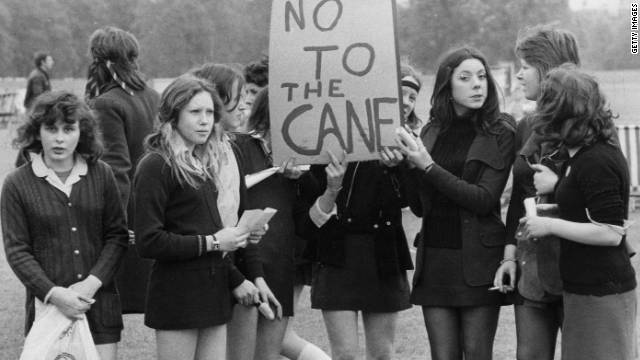 School children hold a demonstration in London's Hyde Park in 1972 against caning in schools.