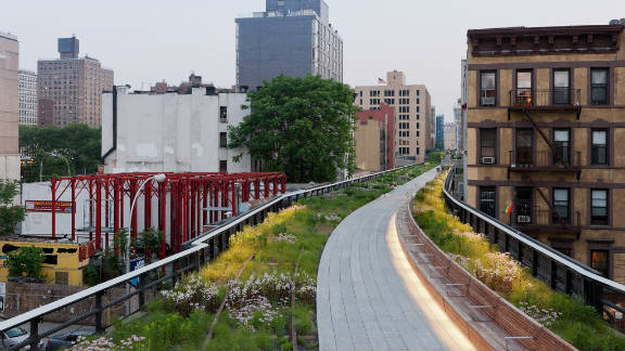 """New York's """"High Line"""" park, built in 2009 from an old railway line above the city streets. The Delancey Underground has already been dubbed the """"Low Line."""""""