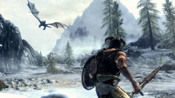 """""""The Elder Scrolls V: Skyrim"""" lets you explore beautiful landscapes and fight dragons."""