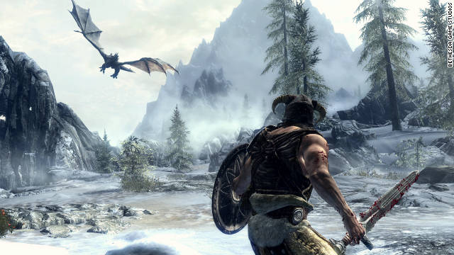 """The Elder Scrolls V: Skyrim"" lets you explore beautiful landscapes and fight dragons."