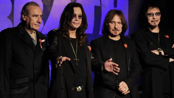 Bill Ward, (L) Ozzy Osbourne, Geezer Butler and Tony Iommi (R) of Black Sabbath, shown here in 2011.