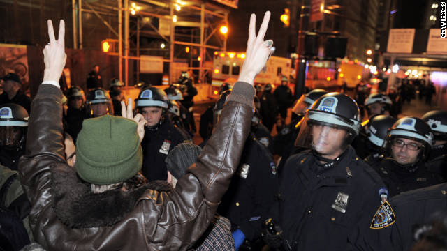 Occupy protesters in New York were evicted by the police early Tuesday morning.