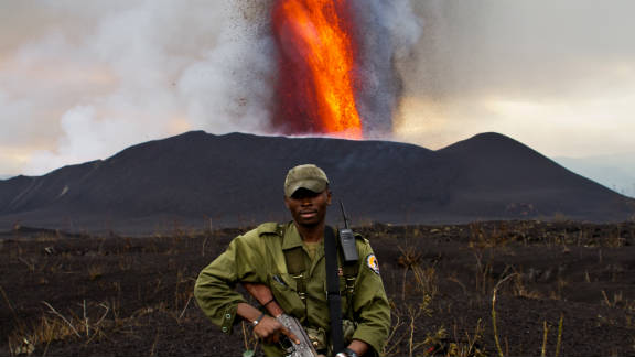 Virunga National Park ranger Romeo on his second trip to the eruption site.