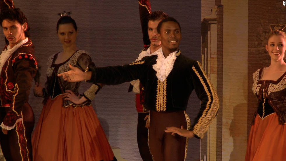 Performing on stage in South Africa. Ndlovu is one of a select few black ballet dancers to break through in to the highest echelons of the ballet world.