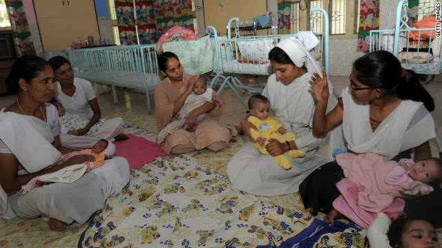 Orphaned Indian girls are cared for by nuns and staff members at the Matruchhaya Orphanage in Nadiad.