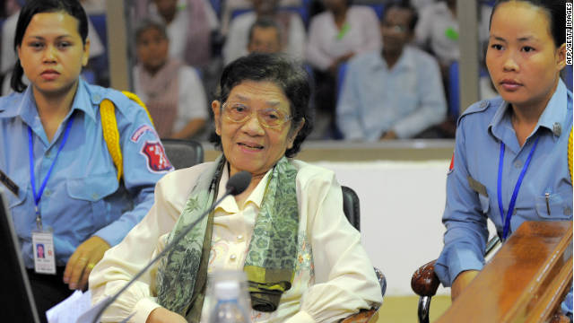Former Khmer Rouge minister, Ieng Thirith, at the Extraordinary Chambers in the Court of Cambodia on April 30, 2010.