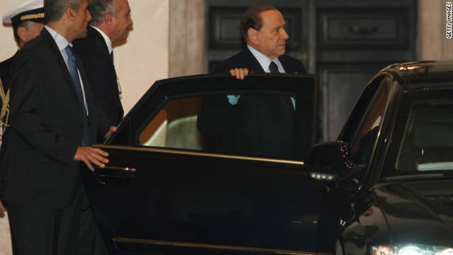 Former Italian Prime Minister Silvio Berlusconi departs Palazzo Chigi in Rome  on Wednesday.