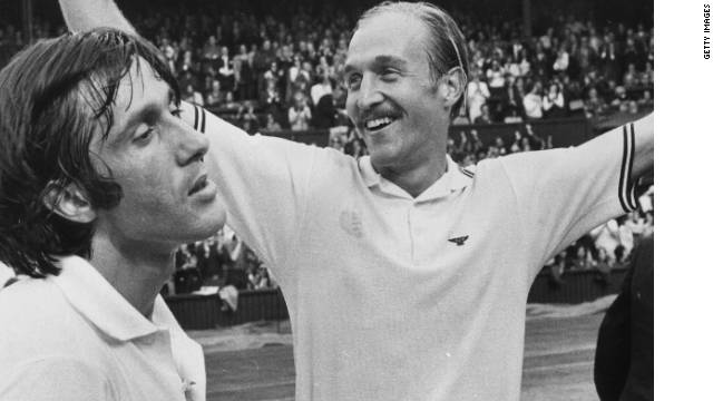 American Stan Smith, right, with  Nastase, his beaten opponent in the 1972 Wimbledon final.
