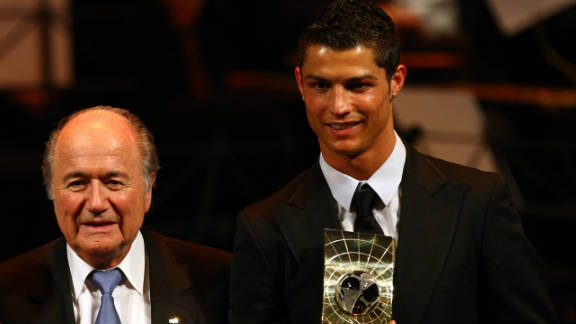 "In 2008 Blatter was ridiculed after defending the desire of Manchester United's highly-paid star Cristiano Ronaldo to join Real Madrid. He said: ""I think in football there's too much modern slavery in transferring players or buying players here and there, and putting them somewhere."" In 2013 he had to apologize to Ronaldo after a bizarre impersonation of the Madrid star."