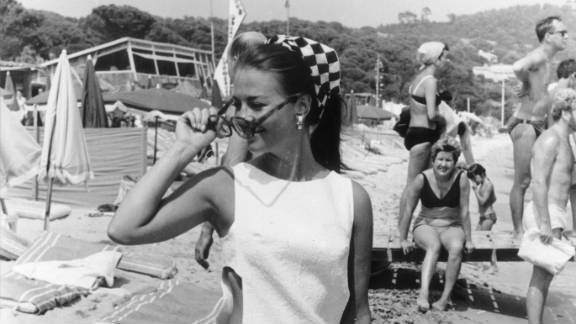 Wood is photographed on the beach in Saint-Tropez in 1968.