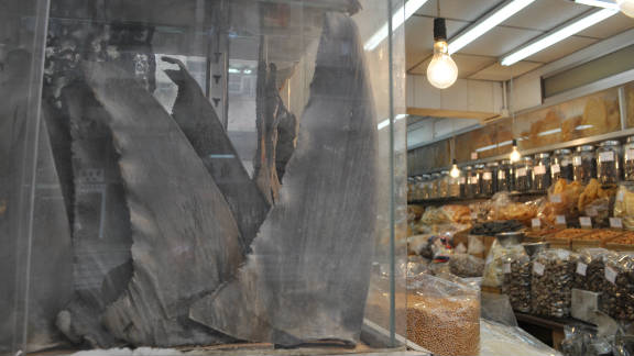Shark fins are displayed at a dried sea food store on Hong Kong's Dried Seafood Street.