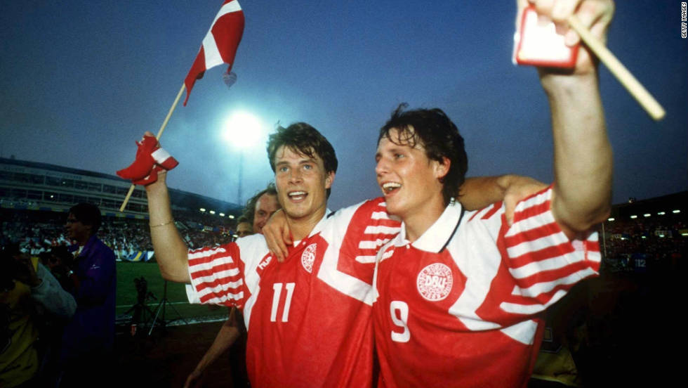 Denmark didn't qualify for the Euro 1992 finals in Sweden but war-torn Yugoslavia were prevented from appearing, meaning group runners-up Denmark took their place instead despite being totally unprepared. They failed to score in their opening two matches before beating France to scrape into the semfinals. They then proceeded to defeat holders Netherlands on penalties and world champions Germany 2-0 in the final to become the unlikeliest winners of all time.